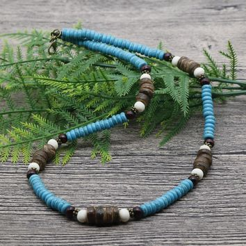 2018 Men Beaded Tribal Choker Necklace Boho Jewelry Blue Howlite Surfer Necklace For Men Best Friend Gift AU-04