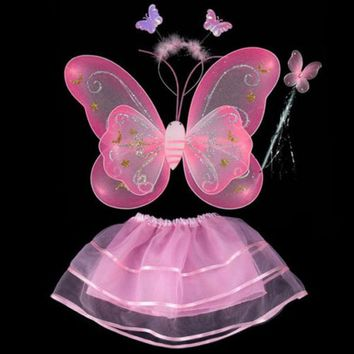 New Socks Cloth Cosplay Fairy Angel Wings Insect Theme Costume 6Colors Children Girl Butterfly Wings Costume