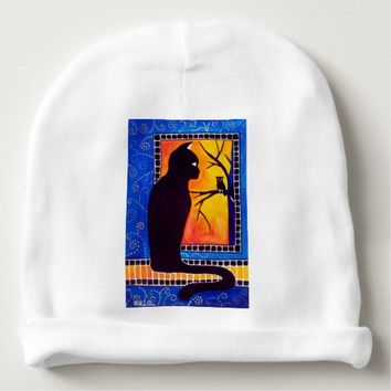 Insomnia - Cat And Owl - Whimsical Black Cat Art Baby Beanie