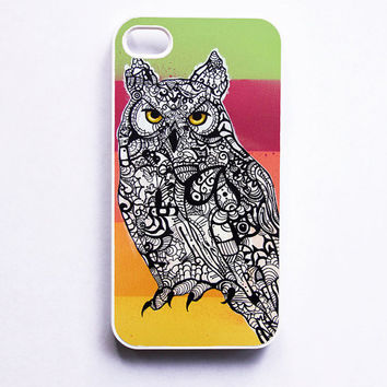 iPhone 4 Case  Horned Owl Zentangle Art by MayhemHere on Etsy