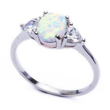 White Oval Opal and Heart CZ Accented Sterling Silver Ring