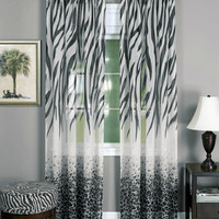 "Savannah Collection Wild Safari Zebra and Leopard Print Set of 2 Sheer Panels in Black (50"" x 84"")"