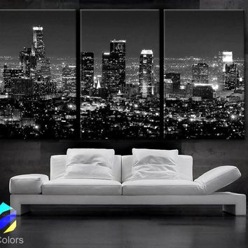 "LARGE 30""x 60"" 3 Panels Art Canvas Print beautiful Los Angeles CA skyline Black & White Wall Home (Included framed 1.5"" depth)"
