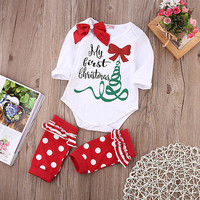 Fashion Newborn Baby Girl Cotton Rompers Christmas Tree Leg Warmers set Toddler Clothes Set