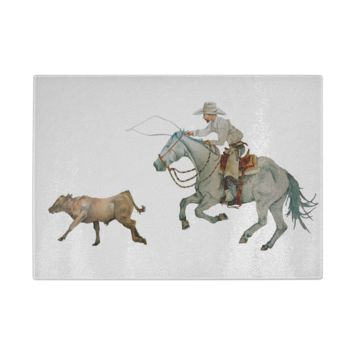In Pursuit, Cowboy Calf Roping Cutting Board
