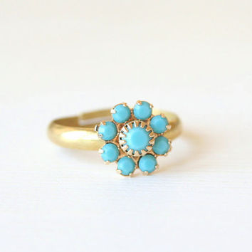 Turquoise Blossom Ring- Simple everyday jewelry