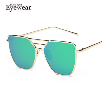 BOUTIQUE New Women Luxury Cat Eye Sunglasses Women Alloy Frame Sunglasses Double-Deck Alloy Frame 7 Colour