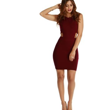 Burgundy Better Things Bodycon Dress