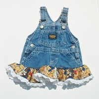 Upcycled Teddy Bear Overall Jumper or Sundress Size 3-6 mo.