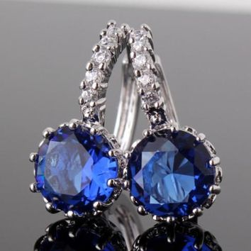 ON SALE - Sapphire Blue Solitaire White Or Yellow Gold Hoop Earrings