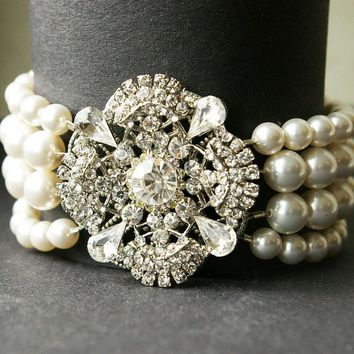 Art Deco Crystal and Pearl Bracelet Vintage Wedding by luxedeluxe