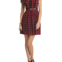 Royal Bones By Tripp Red Plaid Lace Dress