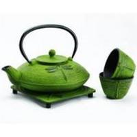 Japanese Cast Iron Teapot Set with matching tea cups and trivet - On Sale