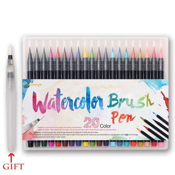 20 Color Watercolor Brush Pen Markers Touch Copic Markers Painting Soft Brush Pens Art Markers Sketch Drawing Colorful Manga