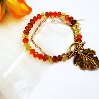 Beaded bracelet - Modern orange and yellow bracelet, Golden unique bracelet, Chain and beads bracelet, Unique and romantic bracelet