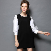 Contrast Black Shift Mini Dress Women Plus Size Lantern Sleeve 2017 Spring Party Dresses l to 5xl