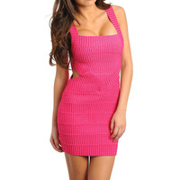 Diamond Side Cut Out Bandage Dress in Fuchsia