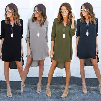 Women Long Sleeve Casual Loose T-Shirt Long Blouse Tops Mini Short Dress Autumn 6 sizes 4 colors [8833519052]