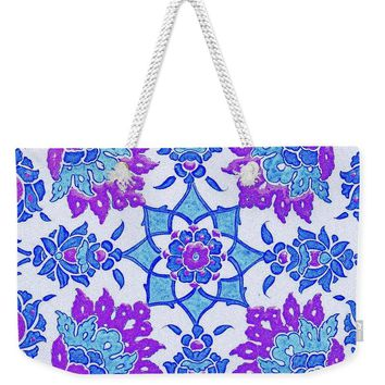 An Ottoman Iznik Style Floral Design Pottery Polychrome, By Adam Asar, No 13i - Weekender Tote Bag