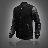 Men's Leather Personalized Baseball Stitching Jacket-Black