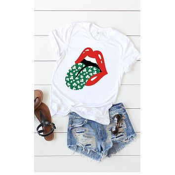 Shamrock Tongue Graphic T - White