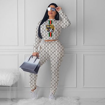 GUCCI Tiger Women Fashion Letter Pattern Print Long Sleeve Trousers Set Two-Piece Sportswear