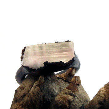 Copper Ring Tourmaline Gem Stone Pale Pink White by MidwestAlchemy