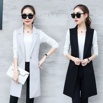 Elegant Suit Vest Women Spring Summer Sleeveless Long Vest Jacket Colete Plus Size 3XL Blazer Vest Coat Women Waistcoat C4202