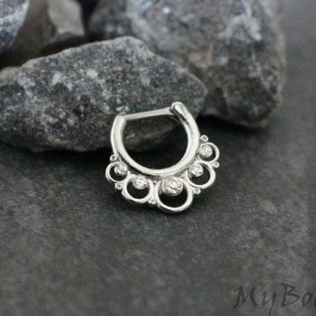 Septum Jewelry, Septum Clicker 16G, Daith Earring, Daith Piercing, Rook Hoop, Rook Earring, Conch Earring, Conch Hoop,Crystal Surgical Steel