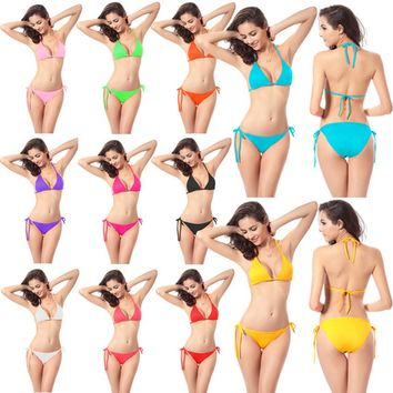 2016 Sexy Women Bikini set Multicolor bath female Swimwear Suit Brazilian biquini Triangle Swimming Beach Swimsuit micro plavky