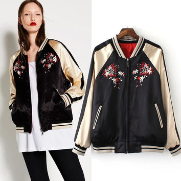 Autumn Embroidery Long Sleeve Jacket [6332332228]