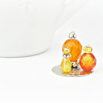One Inch Scale Doll House Miniature 12th Perfume Bottle Ladies Vanity Set Orange