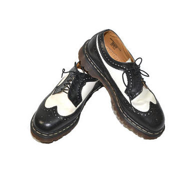 Vintage Dr Martens Shoes Brogues Black and White Shoes Black Oxford Shoes Black Dr Martens Shoes Doc Martens Size 9