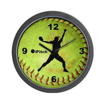 Fastpitch Softball ipitch Wall Clock on CafePress.com