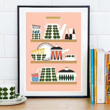 Kitchen print, Scandinavian print, Kitchen wall art, Kitchen decor, Pink kitchen art, Art for kitchen, Stig Lindberg, Retro poster, cooking
