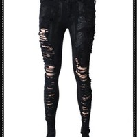 Ripped jeans with skull patches