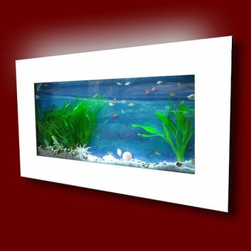 "Aussie Aquariums Wall Mounted Aquarium - Skyline White - 35.4"" x 17.5"" x 4.5"""