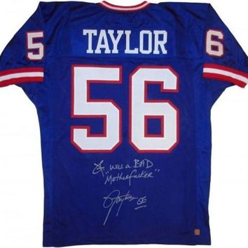 LMFONY Lawrence Taylor Signed Autographed 'I Was a Bad MF'er' New York Giants Football Jersey (ASI COA)