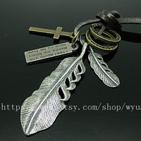 leather necklace with feather pendant women leather necklace men leather necklace  P002