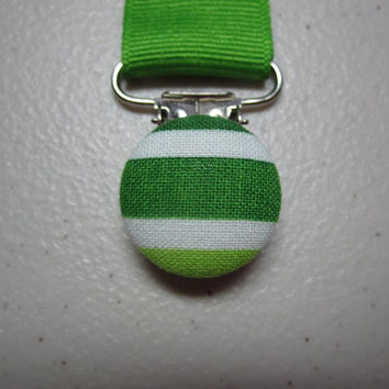 Green Stripe Pacifier Clip - Baby Boy - Jungle Green Grosgrain Ribbon Paci Clip - Urban Zoologie Ann Kelle - Straight Up Stripe