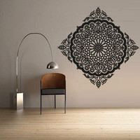 Wall Decal Vinyl  Mural Sticker Art Decor Bedroom Dorm Kitchen Ceiling Mandala Menhdi Flower Pattern Ornament Om Indian Hindu Buddha (z2826)