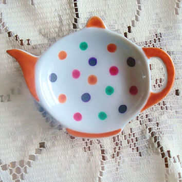 Small colorful Teapot shaped Dish hand painted with colorful polka dots