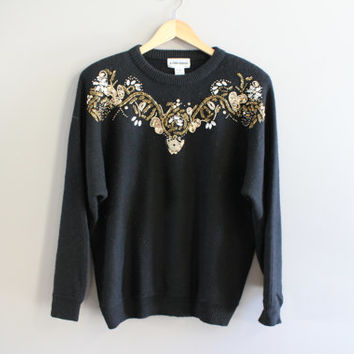 Gold Sequin Beaded Gems Black Sweater Alfred Dunner Batwing Avant Garde Hippie Vintage 80s Size S - M