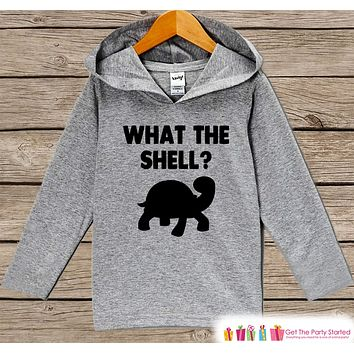 Funny Kids Shirt - What The Shell? Hoodie - Boys or Girls Funny Turtle Shirt - Grey Pullover - Gift Idea for Baby, Infant, Kids, Toddler