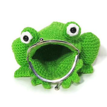 Crochet Frog Coin Purse - Amigurumi Frog Purse - Frog Bag - Frog Pouch - Coin bag - Animal Bag - Amphibian - Frog Lover
