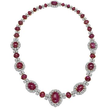 Van Cleef & Arpels Ruby Diamond Cluster Necklace