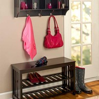 Entryway Hall Bench Shelf Storage Unit Foyer Mudroom Organize Rack Black White