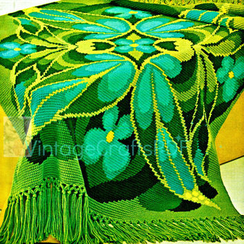Instant Download-1970s Butterfly Afghan Throw Retro-Vintage Crochet Pattern-Fringe-Blanket Pattern-Cover-Digital-Vintage Crafts PDF