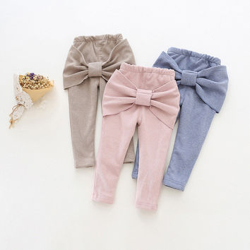 2016 winter girls leggings solid pink gray dark blue bow fleece thick casual pants toddler warm trousers children clothes 18M-5T