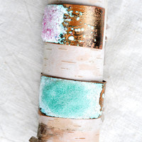 Handcrafted Jewelry - Asymmetrical Cuff - Enamel & Glass Bracelet